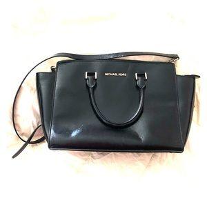 Michael Kors Black Leather Selma Satchel